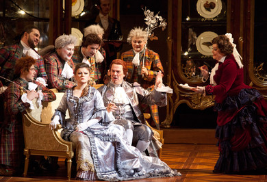Lyubov Petrova as Sophie, Stephen Richardson as Baron Ochs von Lerchenau, Irina Udalova as Marianne Leitmetzerin. Photo by Damir Yusupov.