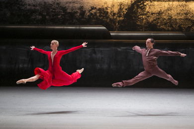 &quot;Forgotten Land&quot; Couple in Red: Yanina Parienko, Vyacheslav Lopatin. <BR>© Photo by Damir Yusupov/ Bolshoi Theatre.